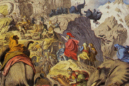 Hannibal Barca Crossing the Alps to Surprise the Roman Republic